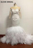 Half Sleeves Ruffles Mermaid Wedding Dress High Quality Lace Bridal Dresses Vestido De Novia with Delicate Hand Pearl Beadings Real Photos