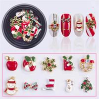 10 Entwürfe / box Legierung Metall-Schneemann-Nagel Strass Weihnachten DIY 3D Nagel-Kunst-Dekorationen Charms Zubehör Werkzeuge