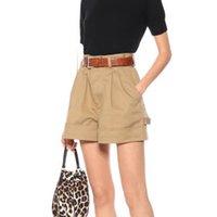 Женские шорты DOAT 2021 Весна и лето Высокая талия Кахки Цвет широких ног Кнопки Pocket S WL07104L