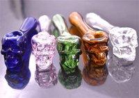 Schädel Glaspfeife Hookah Glaspfeifen Rauchtabak Hand Löffel Rohr Dab Rigs Bubbler Bong Glas Ölbrenner Rohre