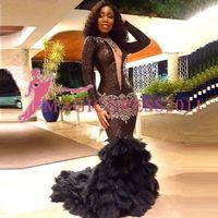 2020 neue Art-Tulle Lange Lady Abendkleid Sexy V-Ausschnitt, lange Ärmel wulstige Partei Mode Kleider