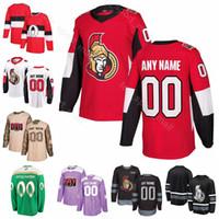Homens Jovens Mulheres Ottawa Senators Thomas Chabo Jersey Custom Hockey Ryan Dzingel Chris Tierney Colin Branco Bobby Ryan Vermelho Branco Preto