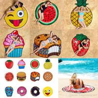 Round 3D Imprimer Serviette de plage Motif mignon de fruits alimentaire Imprimé serviette Donuts hamburgers Châle Écharpe 10pcs LJJ_OA4704