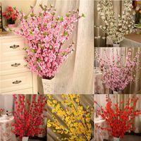 Yapay Kiraz Bahar Erik Şeftali Çiçeği Şube İpek Çiçek Ev Düğün Dekoratif Çiçek Plastik Şeftali Buket 65cm