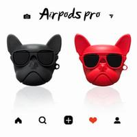 Para airpods caso airpods ins lindo pro funda de silicona de lujo perro bulldog 3D para la caja de accesorios Airpods 1 2 Auricular Bluetooth cubierta de la bolsa