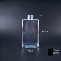 Kapak GGA3486-5 ile Plastik İçecek Şişe 250-550ml Suyu Şişeleri Şeffaf Yuvarlak Düz kare Su Şişeleri Sızdırmazlık İçecek Kupası