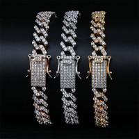 Cuban Chain Bracelets Trending Fashion Men Women Bling Cubic Zirconia 18k Gold Plated Party Hip Hop Jewelry Gifts