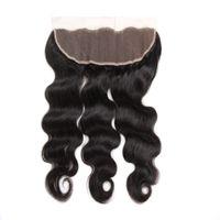 13x4 ухо до ушей волосы закрытие волны тела и прямые 100% человеческие волосы кружева лобные ременные волосы закрытие чистого черного цвета 8-20 дюймов