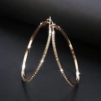2018 Модные серьги-кольца с серьгами со стразами в виде круга Большой большой круг Золотая петля для женщин