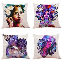 Colorful African Girl Linen Cushion Covers Home Office Sofa ...