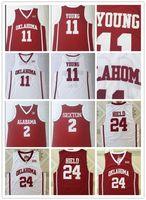 Trae NCAA joven 11 Universidad de Oklahoma Sooners camisetas de baloncesto de la universidad joven Trae Jersey Venta del color del equipo rojo uniforme ausente del deporte blanco