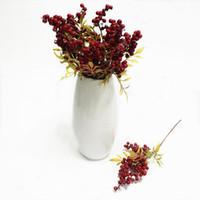 6pieces 콩 지점 시뮬레이션 꽃 콩 크리스마스 딸기 결혼식 인공 실크 꽃 홈 장식 가짜 공장