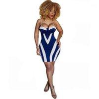 Hip платье Спагетти ремень клуб Badycon костюмам Женская Одежда Новая мода Sexy Печать Полосатой сумка