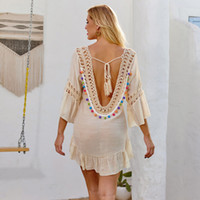 popular sexy open back cover up hook out wool ball tassel bi...