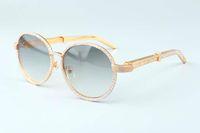 19 ans de luxe lunettes de soleil de cadre rond T19900692 rétro mode chapeau doré en acier inoxydable diamant temples lunettes de soleil décoratives
