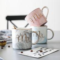 Copos de cerâmica Homem Mulher Estilo Simples Marmorização Cinza Caneca Amantes de Mobiliário de Casa de Água Copo De Café criativo 14 8fx L1
