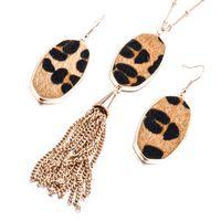 Moda Druzy Drusy Orecchini Collana oro placcato Turchese Abalone Shell Leopard Print Geometria collana orecchini gioielli set