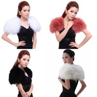Real ostrich feather fur cape collar wedding party black whi...
