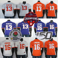 Clemson Tigers Jerseys 13 Renfrow Jersey 16 Trevor Lawrence 화이트 퍼플 NCAA 대학 축구 유니폼 스티치 150th