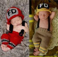 Вязаная детская одежда крючком пожарного новорожденного фото реквизит вязаный детский костюм рождественский наряд подарок для душа ребенка