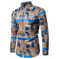 남성 캐주얼 셔츠 남성 민족 스타일 빈티지 인쇄 슬림 긴 소매 드레스 셔츠 블라우스 탑 패션 저가 할인 여성 남자