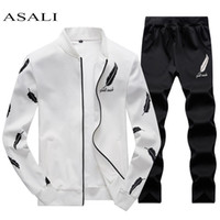 ASALI Mens Survêtement Zipper 2019 Ensembles Printemps Fleece Hommes Casual Set 3D Print plissés Sweats à capuche Sweat Pant Costume Vêtements de fitness