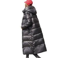 90% de pato blanco abajo de la chaqueta de la chaqueta 2019 mujeres de la capa del invierno para las mujeres con capucha de Down Parka largo caliente grueso ropa femenina T191125 impermeable