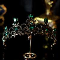2019 роскошные кристаллы свадебные корона сплава сплав свадебные тиара барокко королева король королевский королевский королевский зеленый горный хрусталь Bridal Tiara Crown