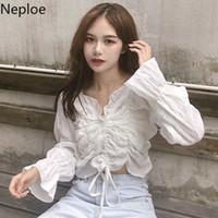 Neploe Kadınlar fırfır Beyaz Gömlek Uzun Kollu Mahsul Bluz Katı V yaka Şık Pileli Gömlek blusas Koreli Seksi Tatlı 1A518 Tops