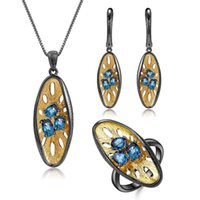 GEM's BALLET 925 Sterling Silver Hollowing Out Brincos Pingente Sets Natural London Blue Topaz Handmade Set Women Jewelry