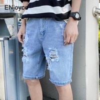 Erkek Kot 2021 Yaz Klasik Şort Moda Rahat Yırtık Delikler Elastik Normal Fit Denim Kısa Pantolon Erkek Siyah Mavi