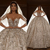 Luxury Dubai Wedding Dresses A Line Glitter 3D Floral Appliq...