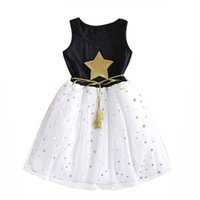 Vieeoease Girls Dress Stars Kids Clothing 2019 Summer Fashion sin mangas de encaje Princess Party Tutu vestido CC-455