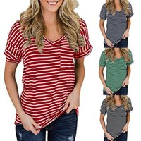 포켓 느슨한 티셔츠 여성 캐주얼 짧은 소매 Fsahion는 여자 스트라이프 V 넥 티셔츠 여름 디자이너 단색 탑