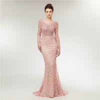 Real Pictures Elegant Scoop Русалка с длинным рукавом розовые вечерние платья Vestido de Festa Женщины из бисера Робин De Soirée Открыть обратно выпускные платья