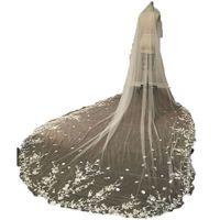 結婚式のベールの葉のスタイルのアップリケの櫛のブライダルの女の子の花嫁の大聖堂の高級長さの長いチャペルの長さ300 cm