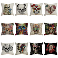 Skeleton Head Pattern Kissenbezug Halloween Dekokissen Kissenbezug Schlafsofa Dekoration Festliche Party Supplies
