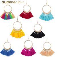 16 färger trendig etnisk bohemiantassel ljuskrona dangle örhängen för kvinnor flicka handgjorda smycken färgglada stora hoop uttalande örhängen
