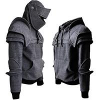 Männer männlich Langarm Hoodie mittelalterliche Vintage Krieger Ritter Maske Rüstungsjacke Sweatshirt Herren Herbst Winter