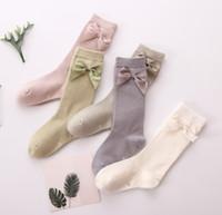 Girls de primavera cinta arcos princesa calcetines niños algodón tejido 3/4 rodilla alto calcetín niños pierna ajuste 1-8T F3173