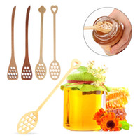 Colher de madeira Colheres De Mel Criativo Favo De Mel Forma Longo Handle Honey Mixing Vara Cozinha de Café Agitador Talheres