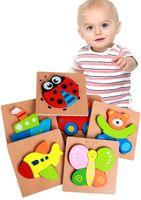 Bebé 3D de madera rompecabezas educativos Juguetes para Niños bloques de construcción de juguete de madera del arte Animales rompecabezas para regalos