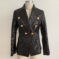 Women blingbling sequined sexy club black blazer double brea...