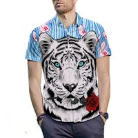 Tiger Printed Shirt Short- sleeved fashion Men' s Slim Fi...