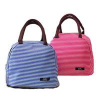 패션 도시락 상자 주최자 스트라이프 인쇄이 두꺼워 절연 점심 가방 방수 핸드백 용 Office 학교 캠핑 높은 품질 5 2cq E1