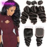Extensões de cabelo virgem brasileiras 3 pacotes com 4x4 fecho de renda 4 peças / lote Pacotes de onda solto com fecho de laço de cabelo bebê onda solta