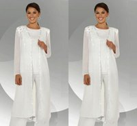 2020 mousseline de soie blanche à manches longues Mère des costumes pantalon mariée avec de longues Chemisier Paillettes perlée Mère de costume marié Pant