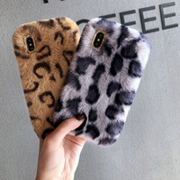 Luxury Bling Leopard print Rex rabbit hair phone case Soft T...