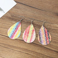 24 designs sequined Earrings Pu leather material vintage Boh...