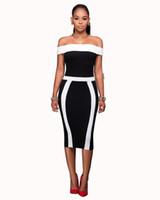 2019 Designer de Mulher Vestidos de Verão Estilo Quente Sexy Elegante Preto Branco Listras Barra Pescoço Bodycon Vestidos de Festa de Vestidos Das Mulheres